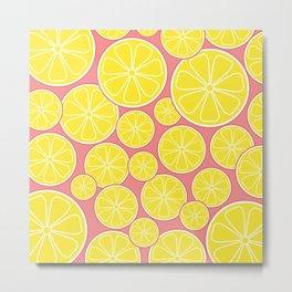 Pink Lemonade Citrus Lemon Slices Metal Print