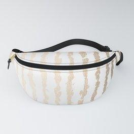 White Gold Sands Vertical Ink Stripes Fanny Pack