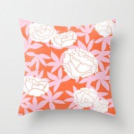 Zen Floral _ pink& coral Throw Pillow
