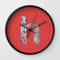 helvetica Wall Clocks featuring Helvetica by Riccardo Pallicelli