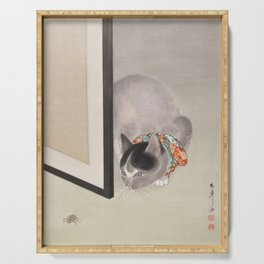 Cat Watching a Spider Japanese Painting Serving Tray