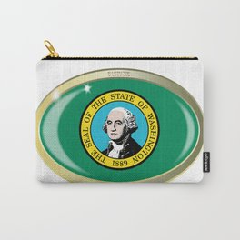 Washington State Flag Oval Button Carry-All Pouch