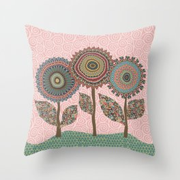 Fabby Flowers-Vintage colors Throw Pillow