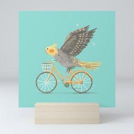 Cockatiel on a Bicycle Mini Art Print