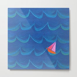 Little Sailboat Big Waves \\ Digital Watercolor Collage Metal Print
