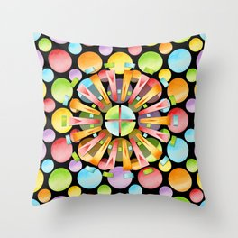 Candy Rainbow Mandala Throw Pillow