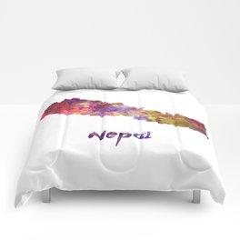 Nepal in watercolor Comforters