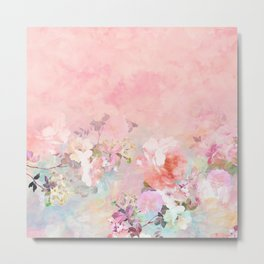 Modern blush watercolor ombre floral watercolor pattern Metal Print