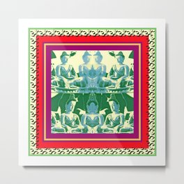 buddhas in green Metal Print