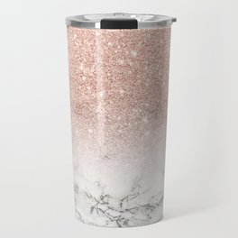 Modern faux rose gold pink glitter ombre white marble Travel Mug
