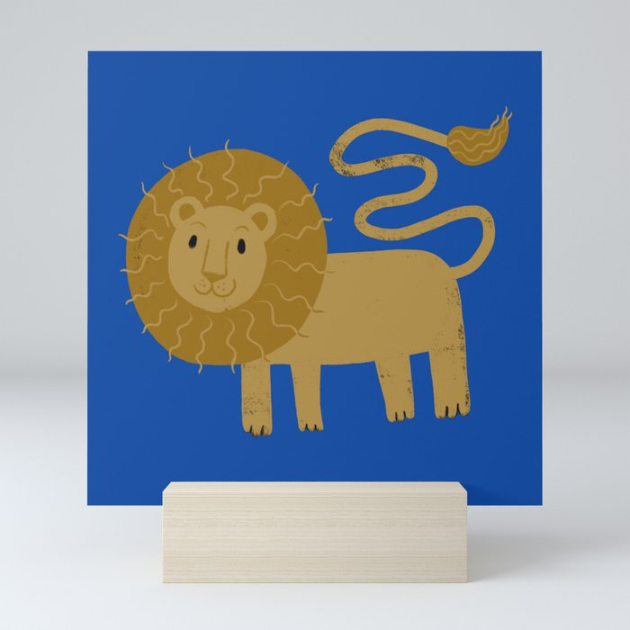 Grrr Lion on blue Mini Art Print