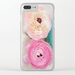 ranunculus pink flowers Clear iPhone Case