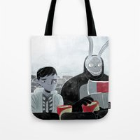 donnie darko Tote Bags featuring Donnie Darko and Frank by AdamAddams