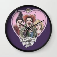 hocus pocus Wall Clocks featuring It's all a bunch of Hocus Pocus by Tiffany Willis