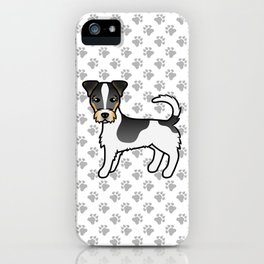 Tricolor Rough Coat Jack Russell Terrier Dog Cute Cartoon Illustration iPhone Case