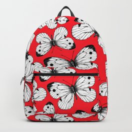 Cabbage butterfly pattern on red Backpack