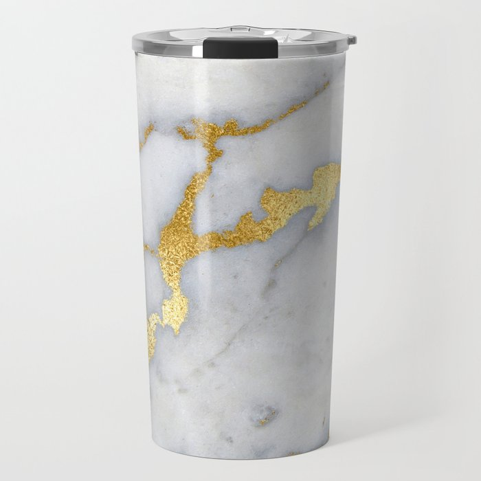 White and Gray Marble and Gold Metal foil Glitter Effect Travel Mug