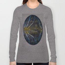 Reflections on Burlton Pool Shropshire UK Long Sleeve T-shirt