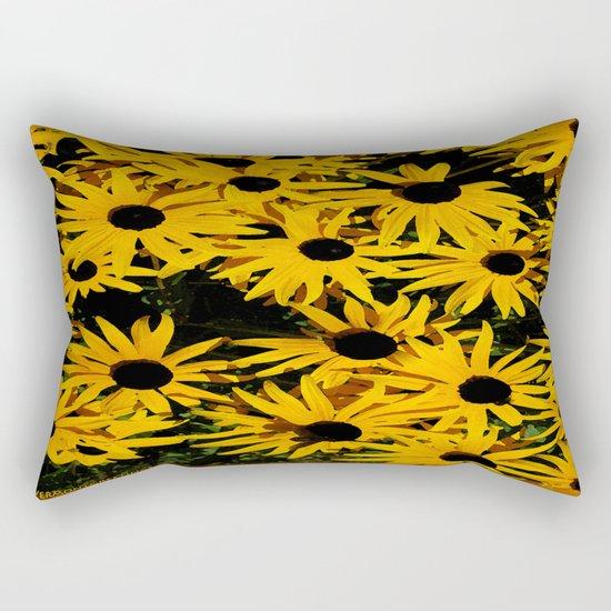 Sunshine Black Eyed Susan Flower Blossoms Rectangular Pillow