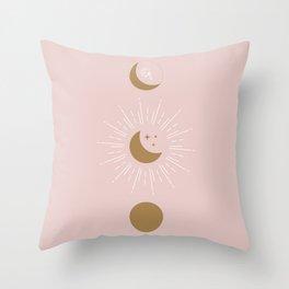 Blush Moon Phases Throw Pillow