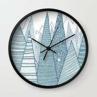 mountains Wall Clocks featuring Mountains by Anita Ivancenko