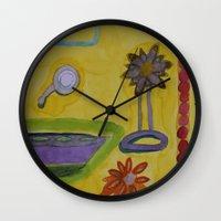 bathroom Wall Clocks featuring The Yellow Bathroom by Heidi Capitaine