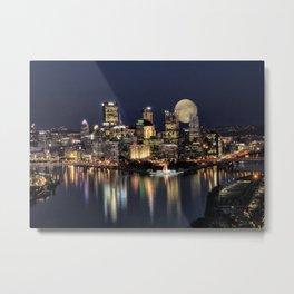 Moon Rise Over Pittsburgh Metal Print