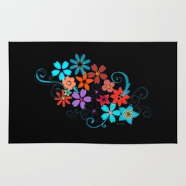 Colorful Flowers on black background Rug