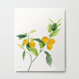 Lemon Branch Watercolor  Metal Print