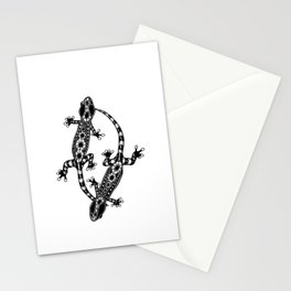 Tangled Geckos on White Stationery Cards