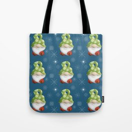 Blue Winter Gnome Pattern Tote Bag
