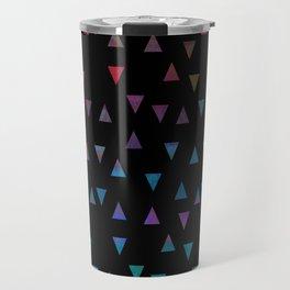 Colorful triangles on black background Travel Mug