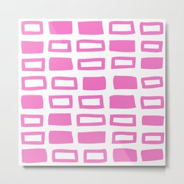 Mid Century Modern Abstract Squares Pattern 442 Pink Metal Print