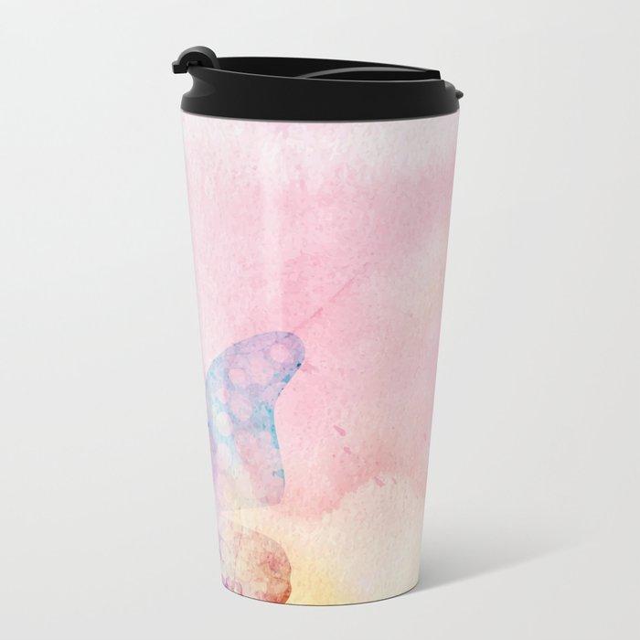 Pink Watercolor Butterfly Metal Travel Mug