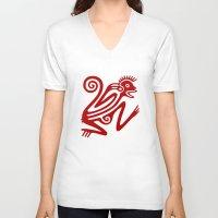 monkey V-neck T-shirts featuring Monkey by Fernando Vieira