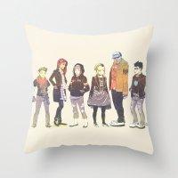 teen titans Throw Pillows featuring Teen Titans Streetwear by L. Tharp