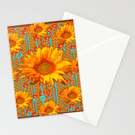 Coffee Brown Sunflower Pattern Orange & Turquoise Stationery Cards