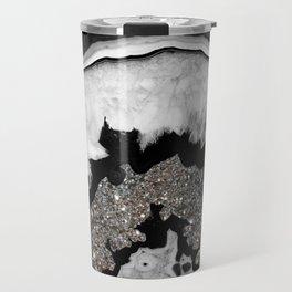 Gray Black White Agate with Silver Glitter #2 #gem #decor #art #society6 Travel Mug