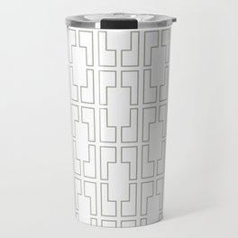 Simply Mid-Century Retro Gray on White Travel Mug