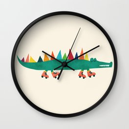 Crocodile on Roller Skates Wall Clock