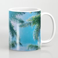 palm trees Mugs featuring PALM TREES by C O R N E L L