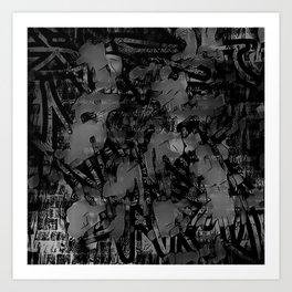 Streetart In The Shadows - Black and Gray Graffiti Art Print