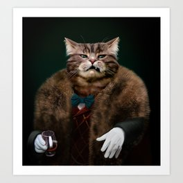 Arrogant sophisticated dressed cat boss looking with contempt Art Print