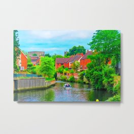 Boating on The River Wensum, Norwich, U.K Metal Print