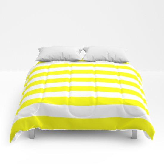 Horizontal Stripes (Yellow/White) Comforters