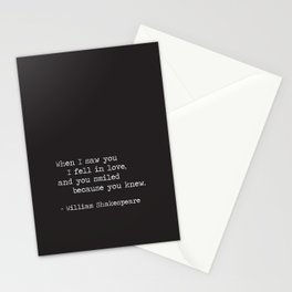 Shakespeare Quote: LOVE (white on black) Stationery Cards