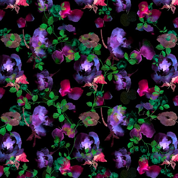 flowers and leaves on black background Comforters