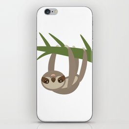 Three-toed sloth on green branch on white background iPhone Skin