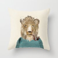 jeep Throw Pillows featuring jeep the lion by bri.buckley