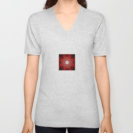 Silver red and black holiday star Unisex V-Neck